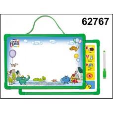 Доска для рисования магнит с алфавитом и маркер зеленая 62767