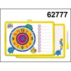 Доска-часы для рисования магнит двухсторонняя с маркером желтая 62777