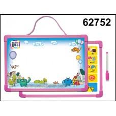 Доска для рисования магнит с алфавитом и маркер розовая 62752
