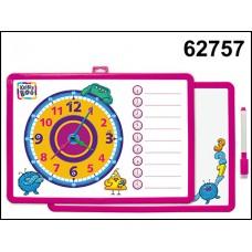 Доска-часы для рисования магнит двухсторонняя с маркером розовая 62757