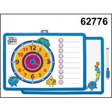 Доска-часы для рисования магнит двухсторонняя с маркером синяя 62776