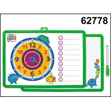 Доска-часы для рисования магнит двухсторонняя с маркером зеленая 62778