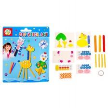 Аппликация Коровка, жираф, курочка из бумаги и деревянных палочек 911345