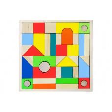 Конструктор деревянный «Городок» большой 40 окрашенных и неокрашенных деталей (арт. К2410)