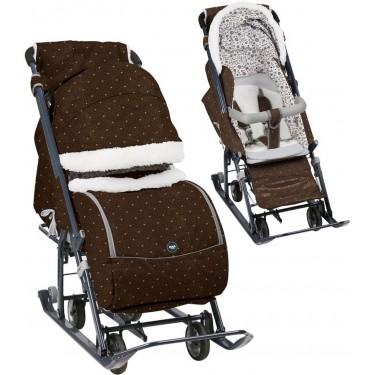 Санки-коляска Ника детям 7-1Б с бампером Горошек шоколадный