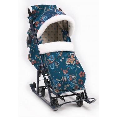 Санки-коляска Ника детям 7-5 Цветочный темный