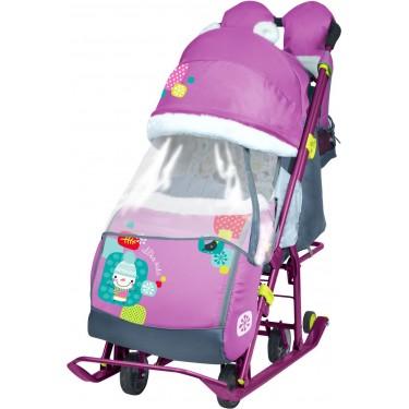 Санки-коляска Ника Детям 7-2 Со снеговиком орхидея